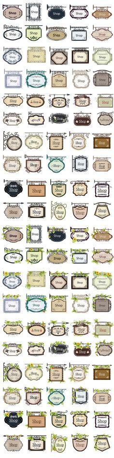アンティークなお店の入口でよく見かけるのおしゃれな看板(Shop Sign)をデザインした イラスト素材がなんと100種類! アイデアしだいでラベル用途にもつかえます。 ベクターデ……
