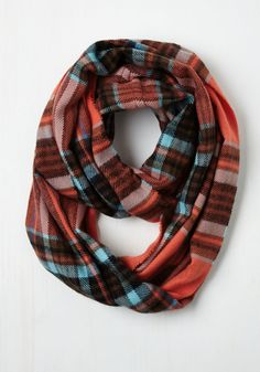 One Pine Day Circle Scarf in Coral. A walk through the woods is winsome and warm when this plaid circle scarf is wrapped lovingly around you. #multi #modcloth