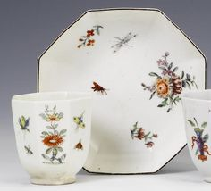 A rare Worcester beaker and a Chelsea saucer circa 1753-54 Both of octagonal form, the beaker painted in colours with flowering plants alternating with insects in flight, 5.6cm high the saucer carefully painted with flowers and insects in the Meissen style, 11.2cm diam (restored area to rim and another above the foot) (2) FOOTNOTES These rare octagonal beakers are related in form and decoration to the more familiar octagonal handled cups and were not sold with saucers.