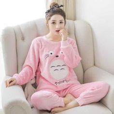 57147353f1 QWEEK Flannel Women Sleepwear Winter Female Pajamas Sets Thick Warm Female  Suit Long Sleeve Pyjamas Women Velvet Home Clothes