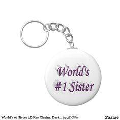 World's #1 Sister 3D Key Chains, Dark Violet Basic Round Button Keychain