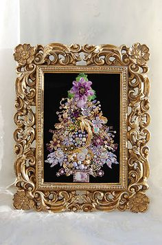 Vintage Jewelry Framed Christmas Tree ♥ Lavender Purple Tons of Golden Glam | eBay 340 5x7