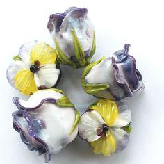 #purple #bead #set #roses #petrovnalampwork #lampwork #pansy #my365beads2016 #glass #glassbeads