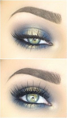 Blues of the Sea eye makeup look list of makeup products makeup hacks blue and gold eyeshadow smokey eye makeup eye makeup ideas eye makeup tutorial.