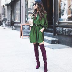 Emerald and burgundy