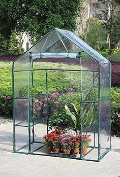 Portable 4 Shelves 3 Tier Walk In Greenhouse Outdoor Plant Holder