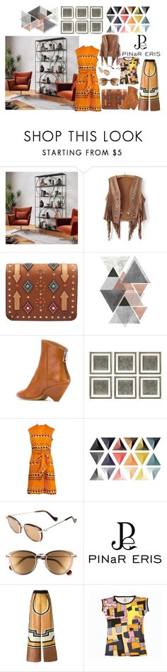 """#geometric prints#"" by jasminaiamna ❤ liked on Polyvore featuring WithChic, Maison Margiela, Eichholtz, Adele Simpson, Moncler, Alberta Ferretti and pinareris"