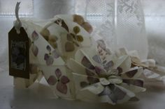 waxed paper and pressed hydrangea flower embroidered shoes by Lesley Sutton Pressed Flower Art, Hydrangea Flower, Wax Paper, Embroidered Flowers, Art Work, Book Art, My Arts, Sculpture, Shoes