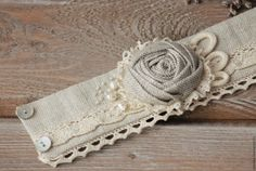 Купить Текстильный браслет из льна в стиле бохо браслет из ткани - бохо- украшения, текстильное украшение