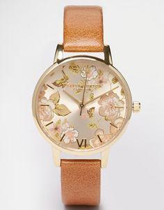 Olivia Burton – Parlour – Kamelbraune Uhr mit mittelgroßem Zifferblatt