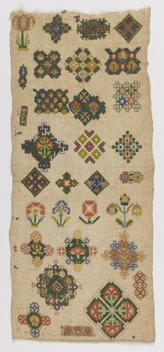 English Sampler ~ 1600-50 ~ silk and metal-wrapped silk-core embroidery, linen foundation ~ embroidered in back, tent, rococo, eyelet, chain, cross, long-armed cross, romanian, stem, twisted chain, and plaited braid stitches on plain weave foundation. Bequest of Mrs. Henry E. Coe ~ Cooper Hewitt Museum
