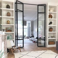 Interior french doors add a beautiful style and elegance to any room in your home. Sliding Door Room Dividers, Partition Door, Room Divider Doors, Interior Sliding Glass Doors, Glass Room Divider, Living Room Divider, Internal Bifold Doors White, Internal Glass Sliding Doors, Internal French Doors