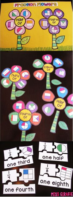 The math activities for fractions are so much fun.It is great for math centers ideas. I can make a variety of groups which will keep students truly engaged while learning new concepts. Fraction Activities, Math Games, Math Activities, Fraction Games, Children Activities, Fun Games, Math Crafts, Math Projects, 3rd Grade Classroom