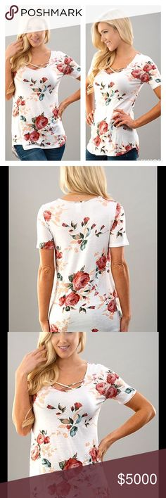 PLUS SIZE IVORY FLORAL PRINT CRISSCROSS TOP Beautiful Ivory Floral Print Crisscross Top  🌷Fabulous for Spring  🌷Pretty Ivory Shade 🌷Floral Print 🌷Trendy Crisscross on Round Neckline   🌷Sizes 1X, 2X, 3X 🌷Rayon 🌷Bundle Discount Available   🔴PRICE IS FINAL UNLESS BUNDLED 🚫NO TRADED Peach Couture Tops