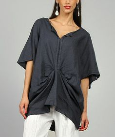 Look what I found on #zulily! Navy Rivka Linen Cape Sleeve Tunic by 100% LIN BLANC #zulilyfinds