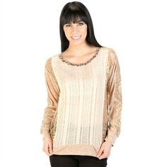 Miss Me Women's Contemporary Mixed Media Top | from Von Maur #VonMaur #StyleCorner #Beige