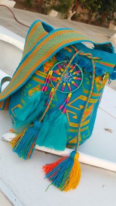 Wayuu Mochila bag by DeeDeeBean Handmade Handbags, Handmade Bags, Mochila Crochet, Tapestry Crochet Patterns, Tapestry Bag, Boho Bags, Fabric Bags, Crochet Purses, Knitted Bags