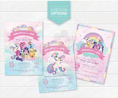 Fiesta Little Pony, My Little Pony Cumpleaños, My Little Pony Birthday, Little Pony Party, 3rd Birthday, Castle Party, Personalized Birthday Invitations, Rainbow Invitations, Digital