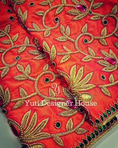 Floral Bridal blouse by YUTI! For Price and Other details reach us at or Whatsapp: 7010905260 Address: Moosa street, TNagar. Best Blouse Designs, Sari Blouse Designs, Bridal Blouse Designs, Aari Embroidery, Embroidery Designs, Hand Designs, Flower Designs, Cut Work Blouse, Wedding Symbols