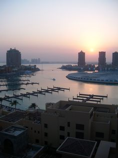Sunset view from our apartment at The Pearl, Doha, Qatar