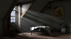 Modélisation d'une chambre abandonnée sous Cinema4d par Vincent Quirin, infographiste multimédia 3D à Sotteville lès Rouen
