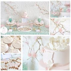 butterfly and blossom christening party, love the color combination.