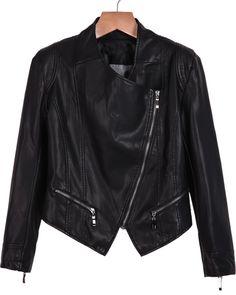 Black Long Sleeve Oblique Zipper PU Leather Jacket 25.83