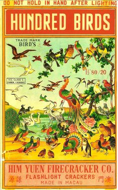 Hundred Birds Firecracker Brick Label