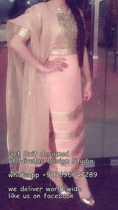 beautiful party wear punjabi suit . visit us https://www.facebook.com/punjabisboutique for purchase query whatsapp +917696747289 Pinterest : @nivetas Design Studio