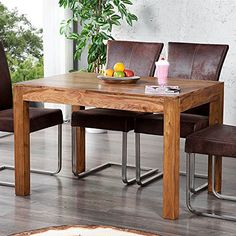 RUSTIKALER HOLZTISCH SHEESHAM | 120 Cm, Natur | Massivholz Esstisch,  Küchentisch