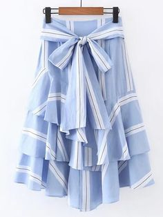 To find out about the Bow Tie Waist Layered Ruffle Skirt at SHEIN, part of our latest Skirts ready to shop online today! Long Blue Skirts, Striped Maxi Skirts, Long Skirts For Women, Stripe Skirt, Ruffle Skirt, Ruffles, Frilly Skirt, Bow Skirt, Waist Skirt