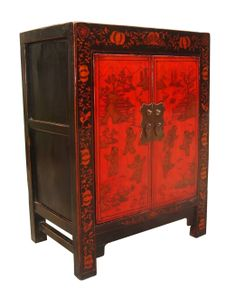 """33""""H.Shanxi Chinese Two Door Children Painting Chest in Black and Red"""