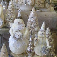 Bottle brush trees and snowmen