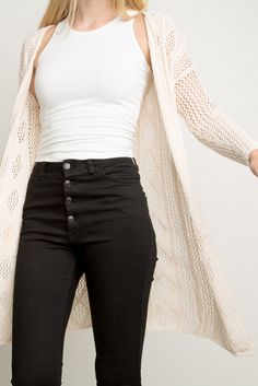 High waisted jeans with a cardigan. Brandy ♥ Melville | Charlotte Cardigan - Clothing