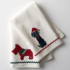 Dog Kitchen Towels, Set of 2 - Carefully embroidered and appliquéd in festive red hues!