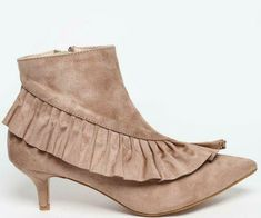Womens Beige Pointed Toe Ruffle Frill Kitten Heel Ankle Boots Size UK 4 5 Ladies #Unbranded #AnkleBoots #CasualOutdoorPartyWork Kitten Heel Ankle Boots, Kitten Heels, No Frills, Toe, Beige, Lady, Casual, Fashion, Moda