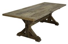 Farmhouse Trestle Tables | French Oak Trestle Base Farm Table ~ Want this in my dining room!