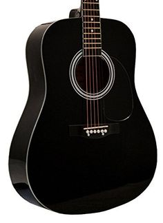 "41"" Inch Full Size Black Handcrafted Steel String Dreadno..."