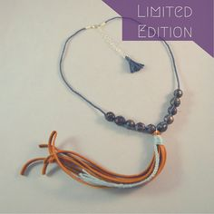 Limited Edition Faceted Pearl Leather Tassel Necklace by CatMHorn on Etsy $82.00