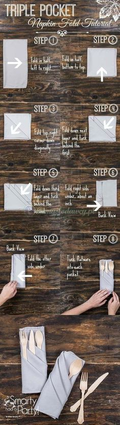 Here is a list of 25 different ways you can fold your napkins for your dining room table. #DIY projectsnapkin idea
