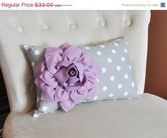 MEMORIAL DAY SALE Decorative Lumbar Pillow Lilac Dahlia on Gray and White Polka Dot Lumbar Pillow 9 x 16