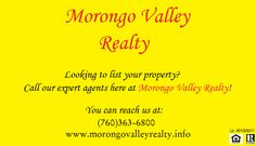 Contact our agents today at (760)363-6800 or you can visit us on our website at www.morongovalleyrealty.info!