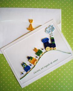 Manualidades Tres Angeles : Quilling - Filigrana tarjeta para bebe