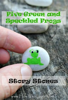 Five Green and Speckled Frogs story stones - with a super neat twist making it a wonderful tool for counting, sequential thinking, and problem solving! Lots of other ideas for activities to accompany this poem too. Preschool Music, Preschool Literacy, Kids Learning Activities, Creative Activities, Early Literacy, Kindergarten, Number Activities, Preschool Alphabet, Montessori Education