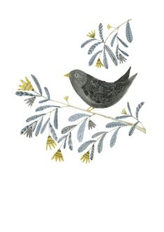 Bird on a Branch A3 giclee poster print by inmybackyard on Etsy
