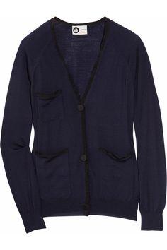 Grosgrain-trimmed fine-knit wool cardigan by Lanvin; color: navy.