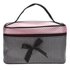 Kosmetyczka Bowknot Paskiem Dot Drukowania Kolor Satynowa Panelami Makijaż Box Dziewczyna Torba Do Przechowywania Dużej Pojemności Estuche Maquillaje #6111