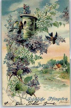 Prägedruck Pfingsten Vogel Blumen: Ansichtskarten-Center Onlineshop