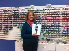 Stephanie Oberler with Flat Cathy at Bead Soup, in Savage Mill, Maryland.