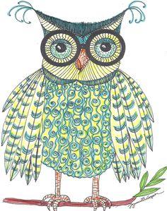 Owl Art Print Of An Original Print Glasses Owl Bird, Bird Art, Owl Artwork, Whimsical Owl, Bird Quilt, Doodle, Owl Always Love You, Owl Print, Cute Owl